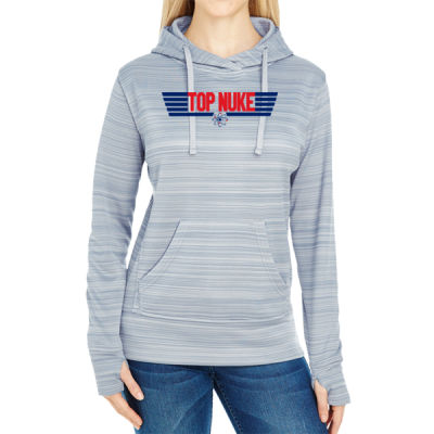 Top Nuke - JAmerica Ladies Poly Fleece Striped Pullover Hoodie Thumbnail
