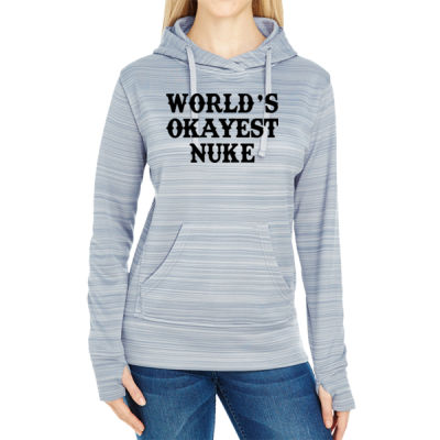 World's Okayest Nuke - JAmerica Ladies Poly Fleece Striped Pullover Hoodie Thumbnail