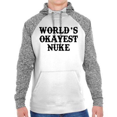 World's Okayest Nuke - Adult Colorblock Cosmic Pullover Hood (S)  Thumbnail