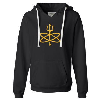 Atomic Trident of Poseidon - Ladies' Sueded V-Neck Hooded Sweatshirt Thumbnail