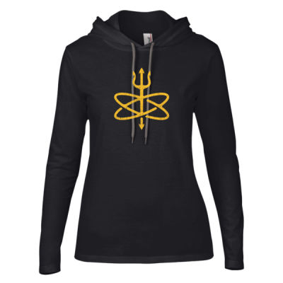 Atomic Trident of Poseidon - Ladies' Lightweight Long-Sleeve Hooded T-Shirt Thumbnail
