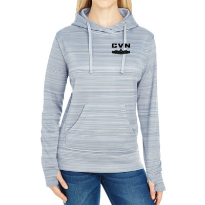 Ford Class Aircraft Carrier (SW) - JAmerica Ladies Poly Fleece Striped Pullover Hoodie Thumbnail