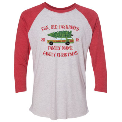 Fun, Old Fashioned Family Christmas  - (S) Unisex Tri-Blend Three-Quarter Sleeve Baseball Raglan Tee Thumbnail