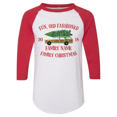 Fun, Old Fashioned Family Christmas  - Adult 3/4-Sleeve Baseball Jersey (S) Thumbnail