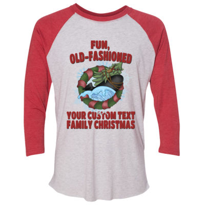 USS Griswold Fun, Old-Fashioned Christmas  - (S) Unisex Tri-Blend Three-Quarter Sleeve Baseball Raglan Tee Thumbnail