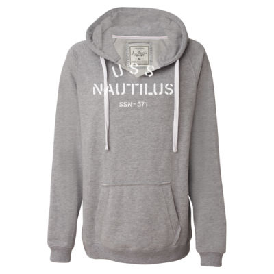 USS Nautilus - Underway on Nuclear Power - Ladies' Sueded V-Neck Hooded Sweatshirt Thumbnail