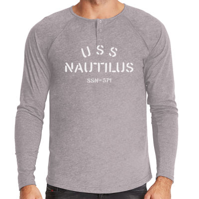 USS Nautilus - Underway on Nuclear Power - Men's Triblend Long-Sleeve Henley Thumbnail