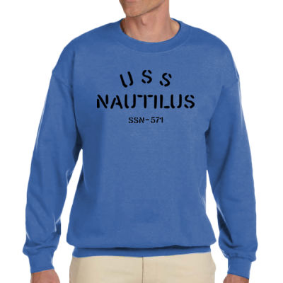 USS Nautilus - Underway on Nuclear Power - Adult Heavy Blend Heather Royal or Red 60/40 Fleece Crew (S) Thumbnail