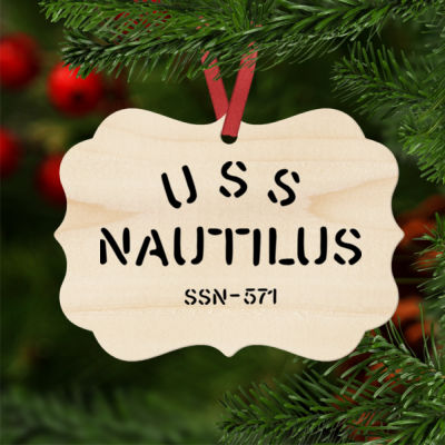 USS Nautilus - Underway on Nuclear Power - Natural Wood Benelux Christmas Ornament Thumbnail