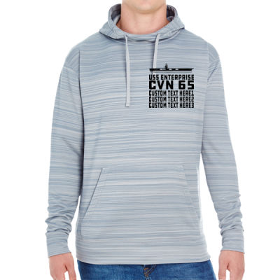 Personalized USS Enterprise with '82-2012 Island - JAmerica Unisex Poly Fleece Striped Pullover Hoodie Thumbnail
