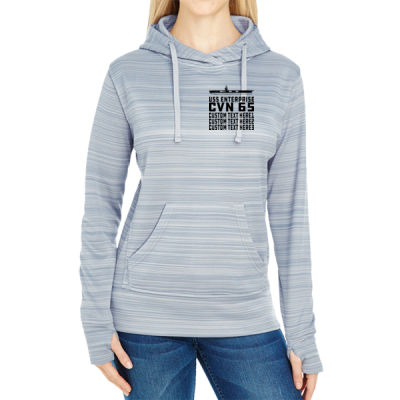 Personalized USS Enterprise with '82-2012 Island - JAmerica Ladies Poly Fleece Striped Pullover Hoodie Thumbnail