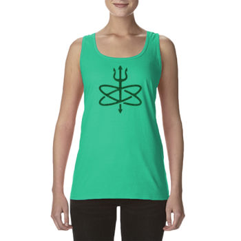 St. Patrick's Day Four Leaf Atomic Trident of Poseidon - Ladies' Softstyle®  4.5 oz. Racerback Tank (S) Thumbnail