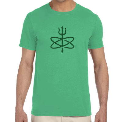 St. Patrick's Day Four Leaf Atomic Trident of Poseidon - Adult Softstyle® 4.5 oz. Heather Color T-Shirt (S) Thumbnail