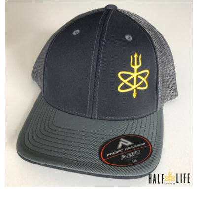 Black / Grey Atomic Trident of Poseidon - Fitted Trucker Mesh Hat Thumbnail