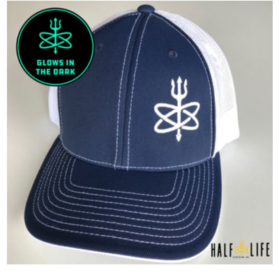 Glow in the Dark - Navy/White Atomic Trident of Poseidon - Fitted Trucker Mesh Hat Thumbnail