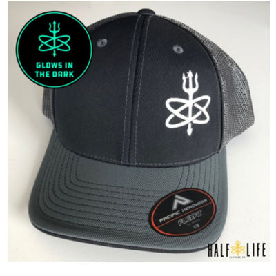 Glow in the Dark - Black/Grey Atomic Trident of Poseidon  - Fitted Trucker Mesh Hat Thumbnail