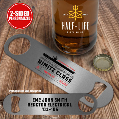 Personalized Nimitz Class Aircraft Carrier - 2 sided  - Pub Style Stainless Steel Bottle Opener Thumbnail