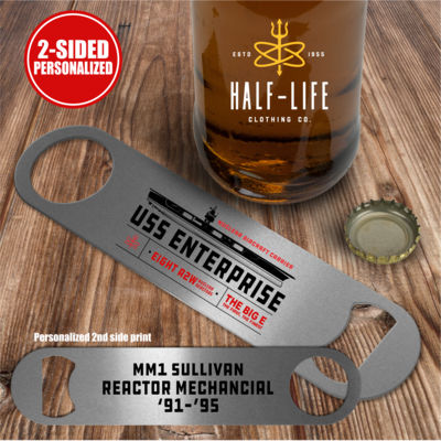 Personalized USS Enterprise with Original Island - 2 sided - Pub Style Stainless Steel Bottle Opener Thumbnail