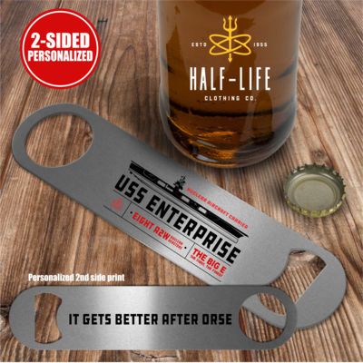Personalized USS Enterprise with 1982-2012 Island - 2 sided - Pub Style Stainless Steel Bottle Opener Thumbnail