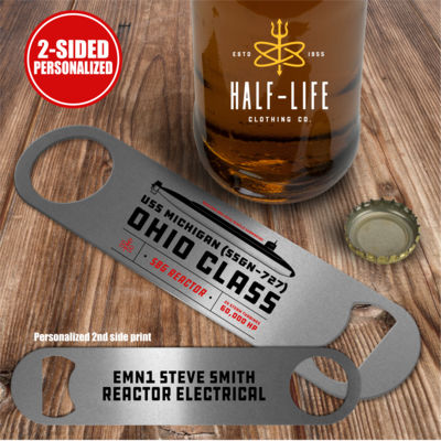 Personalized Ohio Class Ballistic Submarine - 2 sided - Pub Style Stainless Steel Bottle Opener Thumbnail