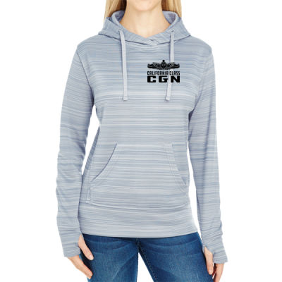 California Class Cruiser (SW) - JAmerica Ladies Poly Fleece Striped Pullover Hoodie Thumbnail
