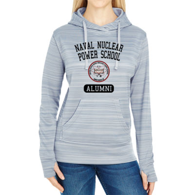 Naval Nuclear Power School Goose Creek, SC Alumni (Vertical) - JAmerica Ladies Poly Fleece Striped Pullover Hoodie Thumbnail