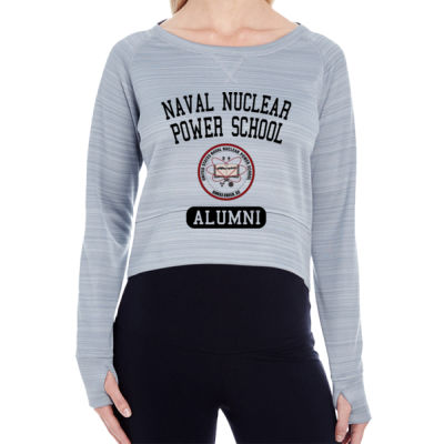 Naval Nuclear Power School Goose Creek, SC Alumni (Vertical) - Ladies' Striped Poly Fleece Hi-Lo Crew Thumbnail