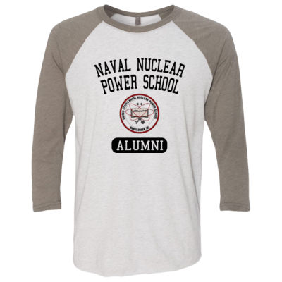 Naval Nuclear Power School Goose Creek, SC Alumni (Vertical) - (S) Unisex Tri-Blend Three-Quarter Sleeve Baseball Raglan Tee Thumbnail