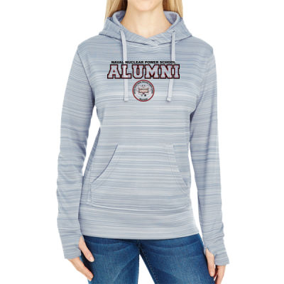 NNPS Alumni - Mare Island (H) - JAmerica Ladies Poly Fleece Striped Pullover Hoodie Thumbnail