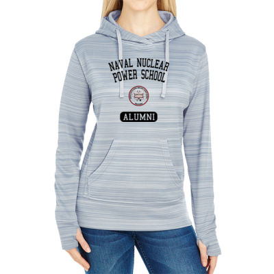 NNPS Alumni - Mare Island (Vertical) - JAmerica Ladies Poly Fleece Striped Pullover Hoodie Thumbnail