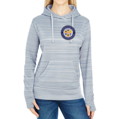 NNPS Alumnus - JAmerica Ladies Poly Fleece Striped Pullover Hoodie Thumbnail