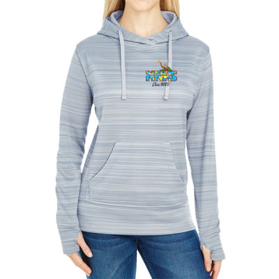 NNPS Alumnus with Poseiden & Class Number - JAmerica Ladies Poly Fleece Striped Pullover Hoodie Thumbnail