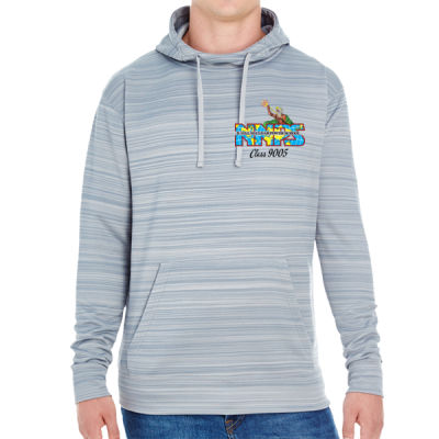 NNPS Alumnus with Poseiden & Class Number - JAmerica Unisex Poly Fleece Striped Pullover Hoodie Thumbnail