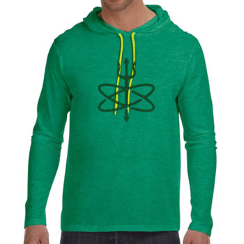 St. Patrick's Day Four Leaf Atomic Trident of Poseidon - Adult Lightweight Long-Sleeve Hooded T-Shirt Thumbnail