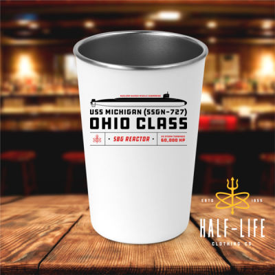Ohio Class Guided Missile Submarine (SSGN) - 17 oz Stainless Steel Pint Glass (HLCC) 2 Thumbnail